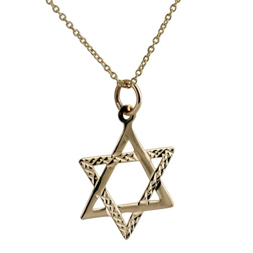9ct Gold 20mm diamond cut Star of David with Cable link chain 16 inches only suitable for children