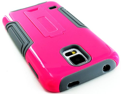 Mylife (Tm) Cool Gray And Shocking Pink - Neo Hybrid Series (Built In Kickstand) 2 Piece + 2 Layer Case For New Galaxy S5 (5G) Smartphone By Samsung (External Hard Fit Armor With Built In Kick Stand + Internal Soft Silicone Rubberized Flex Gel Bumper Guar
