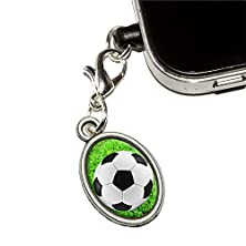 buy Soccer Ball On Grassy Field Mobile Cell Phone Jack Anti-Dust Oval Charm Fits Iphone Ipod Galaxy