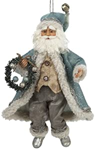 Kurt Adler 12-Inch Aqua Winter Nature Santa Ornament