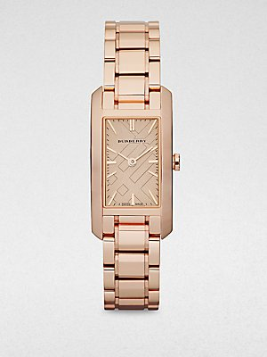 Burberry Rose Gold Engraved Ladies Watch BU9502