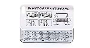 Ultrathin Bluetooth Sideslip Slide-Out Keyboard Hard Case for iPhone 5 - White