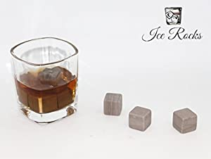 Ice Rocks - Set of Six Marble Whiskey Stones in a Wooden Gift Box - Includes Muslin Carrying Pouch - Sipping Stones Perfect for Drinking Scotch, Whiskey, Soda, Beer, Wine and More!