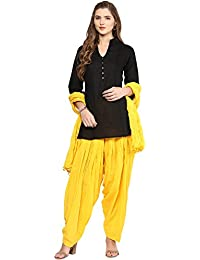 Pistaa Women's Cotton Short Black Kurti And Yellow Patiala Salwar With Dupatta Set & Plus Size