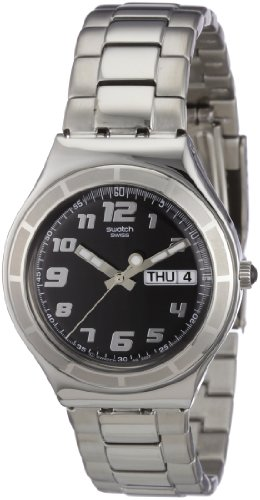 Swatch Mens His Tender Black Stainless Steel Bracelet Watch