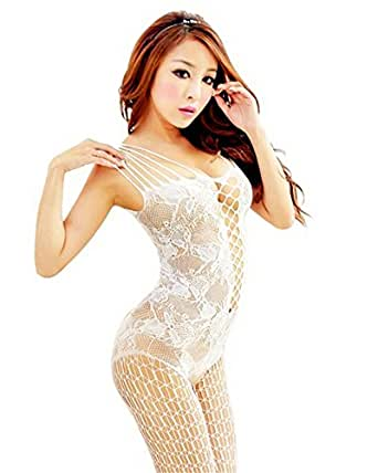 Samgu-Nouveau femmes sexy ouvert entrejambe maille résille Body Stocking Lingerie (blanc)