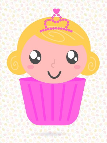 Nursery Cupcake Girl Pink Princess Crown Kids Bedroom Art 12 X 16 Inch Poster Mp4254B