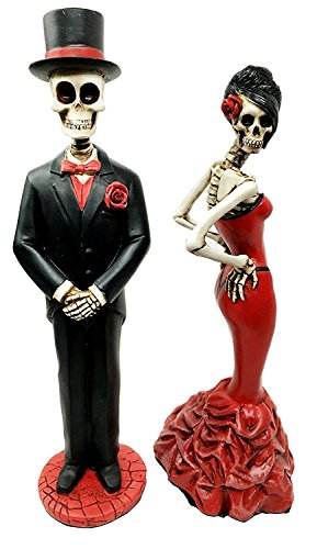 Day Of The Dead Ball Wedding Rose Skeleton Bride & Groom Figurine Dia De Muertos