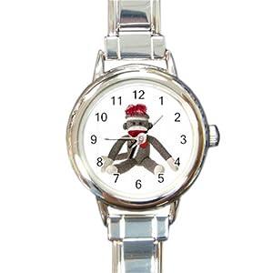 Sock Monkey Sitting Design Italian Charm Metal Watch Silvertone 26402323
