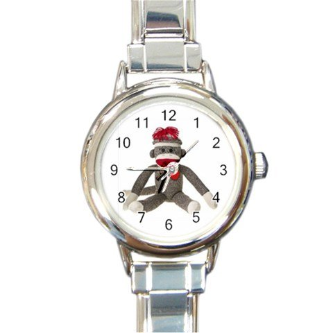 Sock Monkey Sitting Design Italian Charm Metal Watch Silvertone 26402323