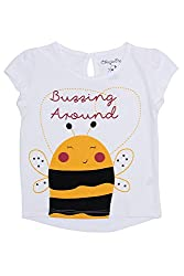Chirpie Pie by Pantaloons Girl's Round Neck T-Shirt (205000005610455, White, 6 - 9 Months)