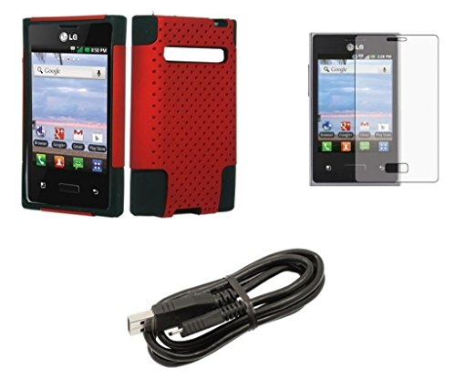 Lg Optimus Logic L35G / Lg Optimus Dynamic L38C - Red & Black Dual Layer Rugged Armor Net Case + Atom Led Keychain Flashlight + Screen Protector + Micro Usb Data Cable
