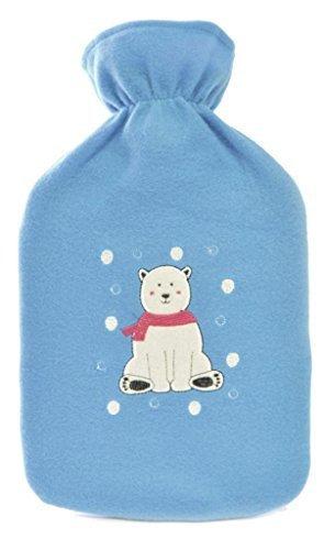 blue polar bear 2 litre hot water bottle fleecy cover by ks brands - K Pour Karit Coloration