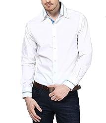 Dazzio Men's Slim Fit Cotton Casual Shirt (DZSH0107_Grey_44)