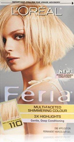 L'Oreal Paris Feria Multi-Faceted Shimmering Color, Very Light beige Blonde [110] (Cooler) 1 ea (Pack of 5) (Beige Blonde Hair Color compare prices)
