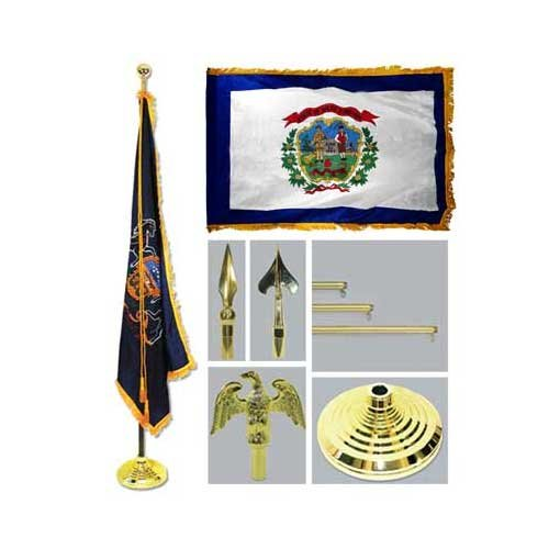 West Virginia 4Ft X 6Ft Flag Telescoping Flagpole Base And Tassel