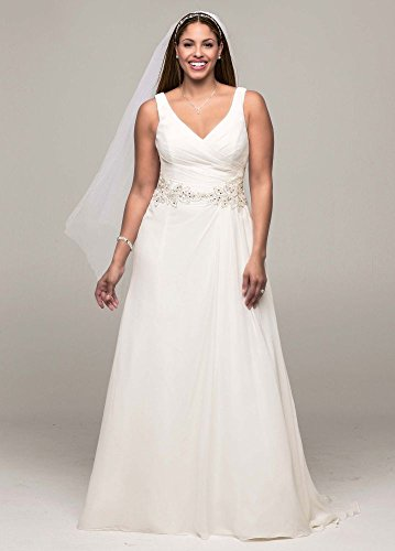 Chiffon SAMPLE: A-Line Plus Size Wedding Dress with Beaded Waist Style...