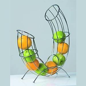 Design Fruit Basket Pipe Roll Bowl Chromed Wire Silver