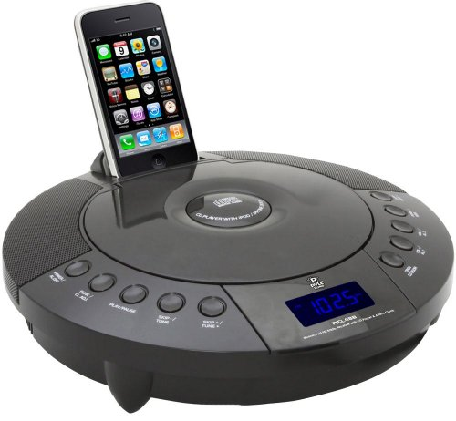 Pyle Home PICL48B FM Radio Receiver with CD Player and Alarm Clock for iPhone/iPod