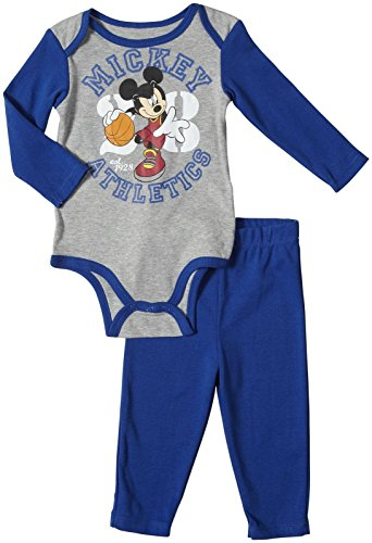 Mickey Mouse Baby Boys' Mickey Creeper Pant Set (Baby) - Blue/Grey - 0-3 Months front-606069
