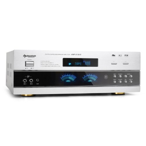 auna AMP-5100 amplificatore Hi Fi (1200 Watt, ingressi RCA, display, telecomando) - argento