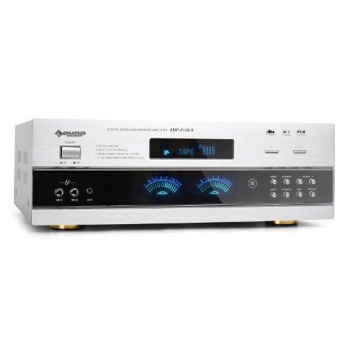 Auna AMP-5100 Amplificatore audio 5.1 surround finale di potenza ricevitore Hi-Fi (1200 Watt, display, 2 x RCA, jack collegamento per lettori cd ed MP3, telecomando) Bianco