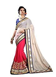 Bikaw Embroidered White Georgette Party Wear Saree - BT-6503-NIR