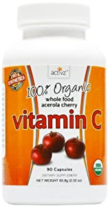 Activz 100% Organic Whole Food Acerola Cherry Vitamin C 90 Capsules