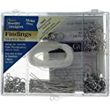 Silver Jewelry Findings Starter Kit w/ Case - 178 Pcs