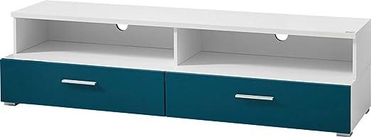 TV-élément bas avec façade de couleur Petrol de 1 tiroir, 118 x 41 x 45 cm -PEGANE-