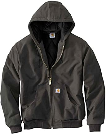 Carhartt Men's Quilted Flannel Lined Duck Active Jacket - J140, Gravel, Small