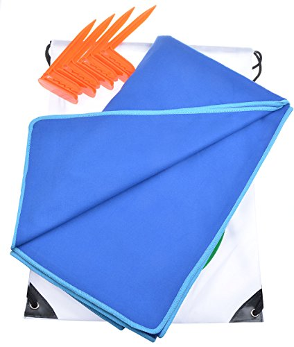 Sunland Microfiber Oversized Beach Towel for Two Adults With Stakes and Waterproof Backpack 75 inch x 63 inch