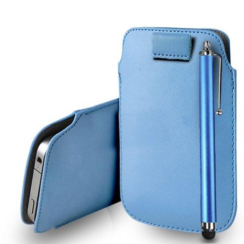 Huawei Ascend G620s Baby Blue Leder Pull Tab Tasche Tasche + Stylus Pen & Poliertuch