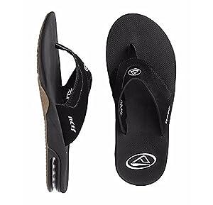 Reef - Mens Fanning Sandals 2014, Black-Silver, 11