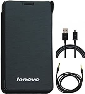 Matrix Flip Cover Case for Lenovo S 850 Black Color with Free USB Data and Charging Cable and Free Auxiliary Stereo Cable