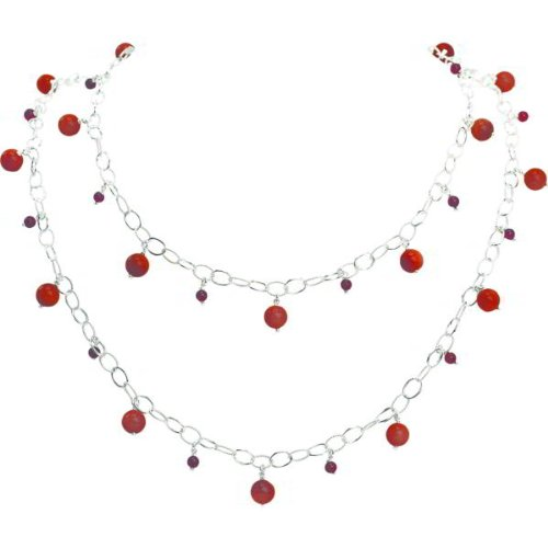 Sterling Silver Garnet Sunstone Necklace 42 - Birthstones and Birthstone Jewelry