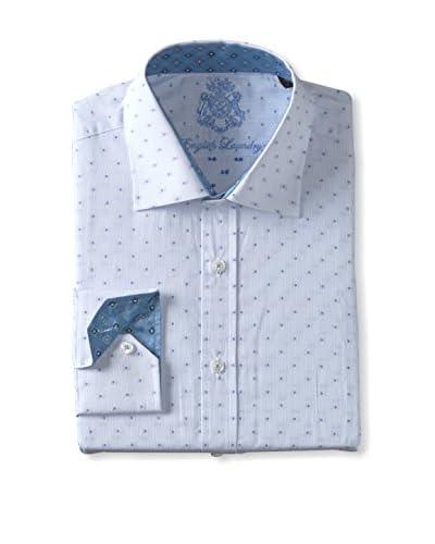 English Laundry Men's Tonal Dot Long Sleeve Shirt