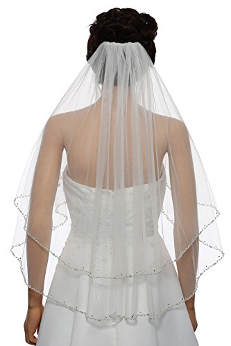 2T 2 Tier Wavy Pearl Crystal Beaded Bridal Wedding Veil - Ivory Elbow Length 30