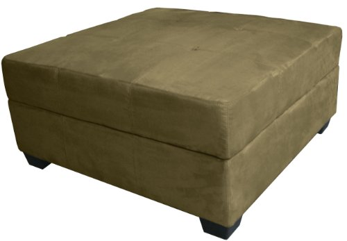 Epic Furnishings 36-Inch Large Square Storage Ottoman/Bench, Suede Olive Green front-450102