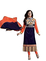 Marvadi Collections Womens Designer Cotton Navyblue Semi-Stitched Partywear Wedding Straight Salwar Suit