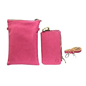 Jo Jo A7 Zara Sr Nillofer Leather Wallet sling Bag clutch Pouch Mobile Phone Case Cover For Huawei Y5 2 Pink