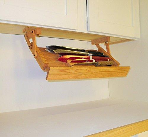 Under Cabinet Mounted Knife Rack (Unfinished Hardwood)