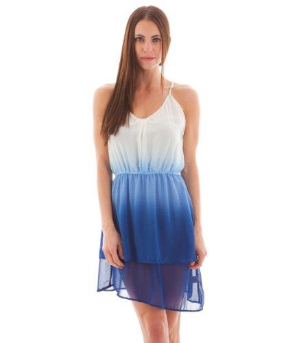 Tiered Layered Hem Ombre Chiffon Dress, Blue, Large