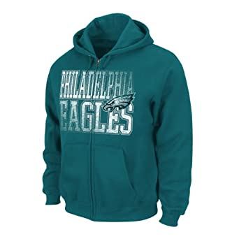 NFL Philadelphia Eagles Touchback V Full Zip Hooded Sweatshirt, Marine Green, Large by VF LSG