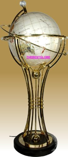 """37"""" Tall Illuminated Mother of Pearl Auto Rotated Floor Lamp w/ Brass Stand and Heavy Wood Base"""
