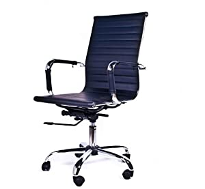 Black Low Back faux Leather Office Chair