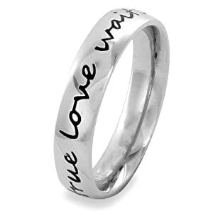 True Love Waits Stainless Steel Ring (4.5 mm) - Sizes 4-10