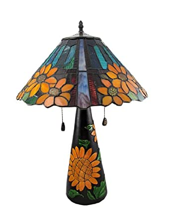 Limited Edition Stained Glass Sunflower Table Lamp 23 Inches Tall