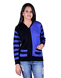 eWools Women's Woolen Sweater (Miss18-401_Blue Black_Medium)