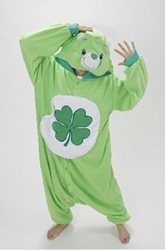 Green Four-leaf Clover Lucky Care Bear Hooded Romper
